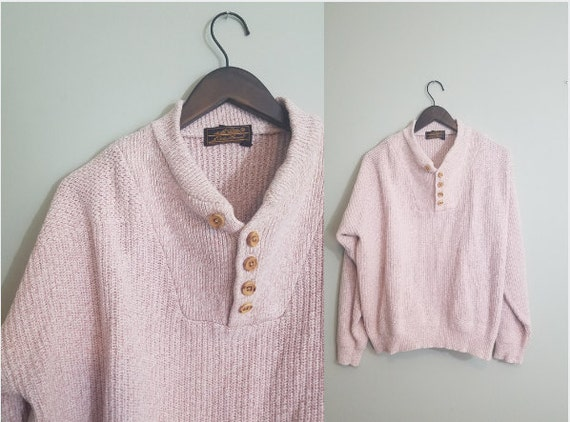 Early 1990s Eddie Bauer Sweater / Cream and Tan Cotton Jumper / Henley Style Shirt / Oversized / Modern Size Large L to Extra Large XL