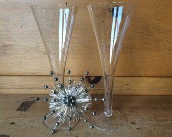 Vintage Hollow Stem Crystal Flute Trumpet Champagne Set of 2 Toasting Glasses Excellent