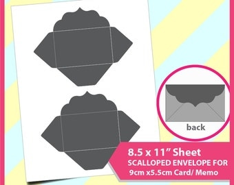 """Instant Download, Fancy envelope Template for 9cmx5.5cm name card, credit card, PSD, PNG and SVG Formats,  8.5x11"""" sheet,  Printable"""