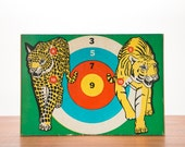 """Rare 1950's Rubber Tip Bow & Arrow Tiger Leopard Panther Bullseye Target 23"""" Board // Retro, Hipster, Rocker, Country, Americana, Christmas"""