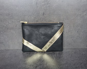 The Mini black and gold leather