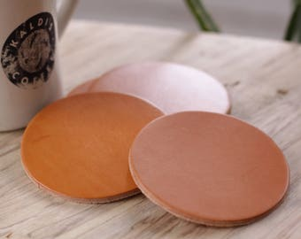 Leather Coaster Set - Hermann Oak Heavyweight Tan Bridle Leather