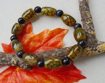 Dragon skin, agate, yellow - green, Blautluss, beads, bracelet, Bangle, bracelet