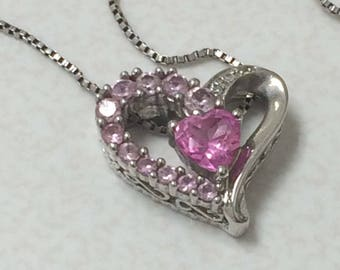 Pink heart sterling  silver pendant necklace