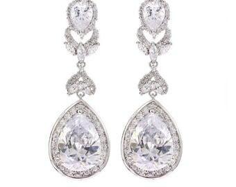 Wedding Earrings, CZ Bridal Earrings, White Gold Earrings, Vintage Wedding Jewelry