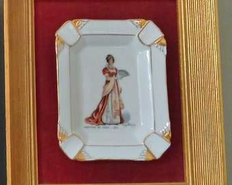 Vintage Framed Pair of Limoges Ash Trays with Ladies in Regency Fashions