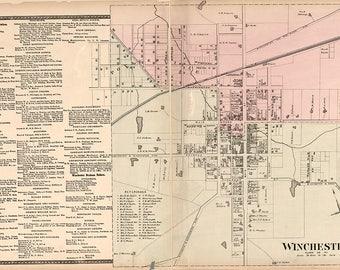 1877 Map of Winchester Clark County Kentucky