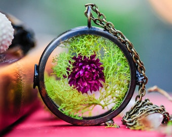 Terrarium necklace, Moss locket, real flower necklace, botanical jewelry, hippie boho jewelry, gift for her