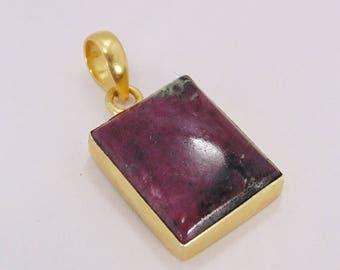 Ruby Zoisite Pendant - Handmade Pendant - July Birthstone Pendant - Square Stone Pendant - Gold Plated Pendant - Christmas Gift Ideas