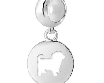 Maltipoo Dog Charm   Maltipoo Silhouette Charm   Fits All European Style Bracelets   Maltipoo Jewelry