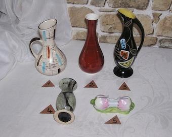 Div. flower vases, original 1960s selection