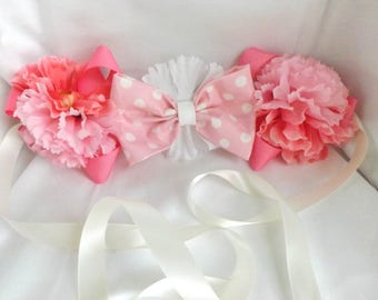Pink Polka dot Maternity Sash Corsage, Baby Shower, Belt, Belly Sash, Maternity, Pregnancy, White, Light Pink, Cream, Bow, baby girl