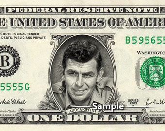 ANDY GRIFFITH on a REAL Dollar Bill Cash Money Collectible Memorabilia Celebrity Bank Note