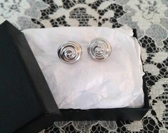 Spiral Earrings - Dainty Earrings - Silver Earrings - Small Earrings - Petite Earrings - Minimal Jewelry - Vintage - 1980s - Gift For Wife