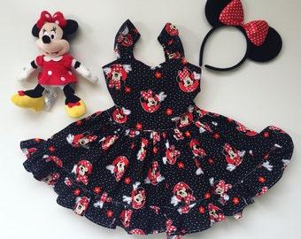 baby girl dress toddler dress girls dresses, disneyland outfit Minnie Mouse dress black polkadot red bow disney short sassy ruffle open back