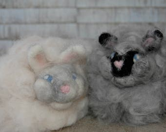 Needle Felted Angora Rabbit, Real Angora Fur! Great for Easter Baskets!