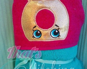 Shopkins Ring Bling inspired Hooded Bath Towel