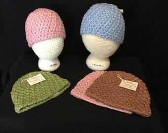 Handmade 100% organic cotton crochet infant hat+baby gift+made in Washington+handmade gift