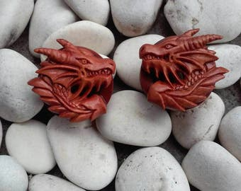 A pair of Dragon wood tunnel, ear gauges, ear plugs, wood plugs, carved wood plugs, ear plugs gauges, 2g - 1 inch plugs, best selling items