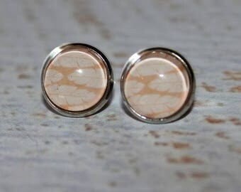 Round Glass Cabochon Stud Earrings 12mm Peach Apricot Feather Pattern Hypo Allergenic Surgical Steel Nickel Free