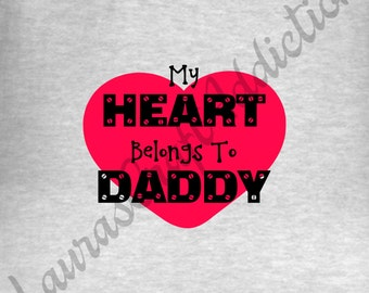6 My Heart Belongs to Mommy/Daddy, svg dxf pdf cut files for Silhouette Cricut, Baby Valentine, Heart svg, Valentine svg, Heart dxf