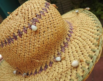 Jamaican Island Hat Palm Fiber and Seeds-Jamaican Shoo Fly Hat