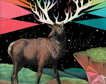 Stag Art Print - Instant Download, Forces Flora + Fauna,  Oracle, Drawing Psychedelic Art, Stag, Deer, Buck, Wall Art, Poster