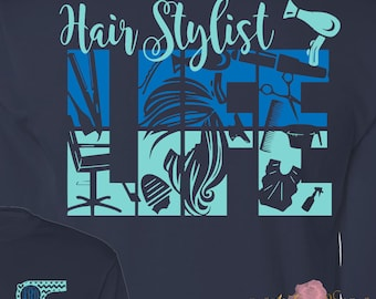 Hair Stylist Life Cosmetologist Cosmetology School Beautician Hair Dresser Monogrammed Shirt