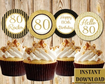 Elegant 80th Birthday Cupcake Toppers, Black and Gold, Labels, Party Favors, Printable, Instant Download, PDF