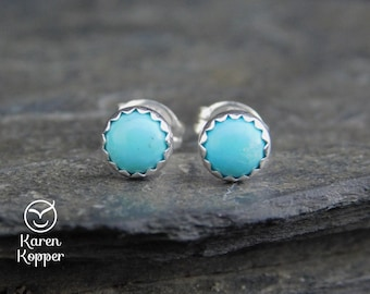 Natural turquoise gemstone earrings, 5mm cabochon, sterling silver, posts earrings, studs, December birthstone, second earrings, 136