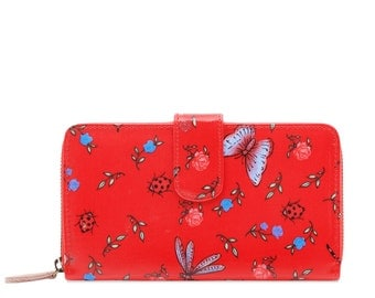 Oilcloth Clutch wallet - Dragonfly Butterfly - Oil cloth ladies purse - Zip around wallet - Bifold wallet - Coin purse - Iphone Plus