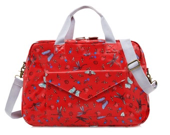 Oilcloth Overnight Bag- Dragonfly butterfly- Baby Diaper bag - Mothers bag - Travel Weekend bag - Duffel Carry on bag- Large Ladies purse