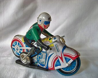 Vintage Wind-up Toy Motorcycle MS-702 with Rider #26, Made in China