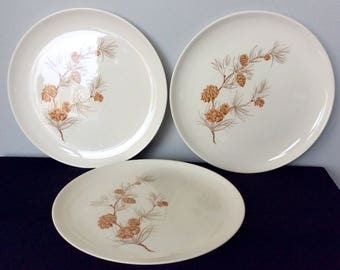 Set of 3 Harmony House Mocha Pine Dinner Plates