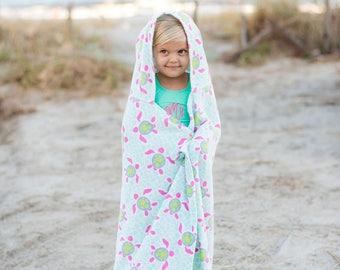 Kids Hooded Turtle Towel w/monogram