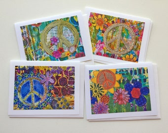 Peace Sign Card Set, Handmade Mixed Media Notecards,  Blank Note Cards, Flowers and Peace Cards, Gift for Her