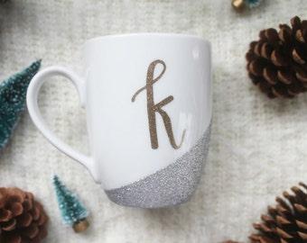 "SALE Silver Glitter with Gold ""K"" - Mug"