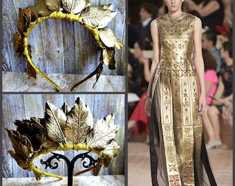 Gold Leaf Crown Wedding Bridal Goddes Headpiece Greek Tiara Gold Laurel Wreath Golden Grecian Athena Toga Leaf Hair God Burning Headdress