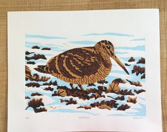 Woodcock bird linocut print - hand-pulled, limited edition