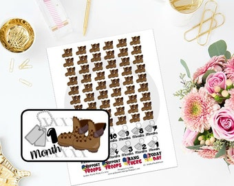 Printable Military Homecoming Deployment Countdown Planner Stickers for MAMBI Happy Planner ECLP Filofax
