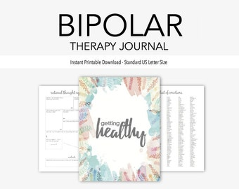 Bipolar Disorder Therapy Journal: Mental Health, Depression, Anxiety, Mood Swings, Manic, Depressive, Instant Printable Download