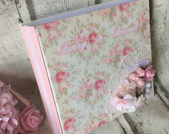 "Romantic wedding ""thanks"" pink and white multipochettes guestbook"
