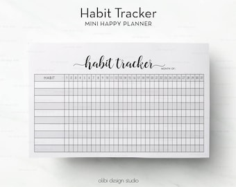Habit Tracker, MINI Happy Planner, Daily Habits, Habit Tracker Printable, Printable Planner, Health Tracker, Monthly Habits, Happy Planner
