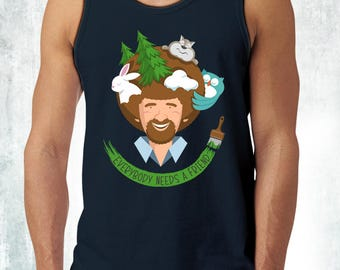 New Bob Ross Inspired Everybody Needs A Friend Mens Tank Top T-Shirt Funny Cute Animals Unisex Tanks Adult Sizes