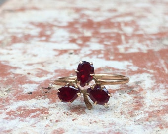 Victorian Garnet Clover Conversion Ring in 10k Rose gold
