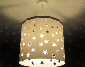 White Stars Lampshade + EREKI Magnetic Set (More Colours Available) changing the light using magnetic attraction, perfect for nursery