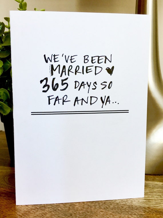One Year Anniversary Card for her, Paper Anniversary, 1st wedding anniversary card, 365 days, 1st anniversary, one year anniversary, lucky