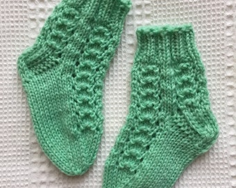 EUR Size 18 / US 3 / UK 2 / Handknitted Infant Child Warm Wool Socks, Mint Green, Lace Knit