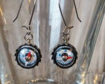 Silver Compass Earrings