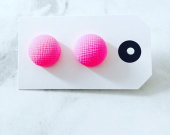 Neon Pink Leather earrings